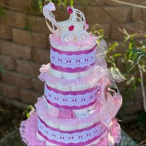 Girl Diaper Cake, Baby Shower Gift